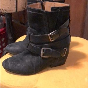 Black double buckle boots